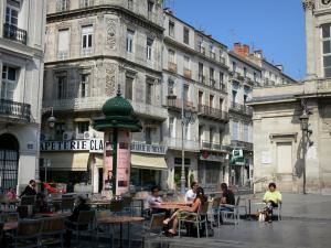 Béziers - Café terrace, theatre and buildings of the city