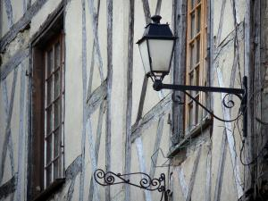 Billom - Lamppost, windows and wood-framed facade in the medieval town (medieval quarter)