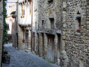 Billom - Medieval town (medieval quarter): paved alley lined with stone houses