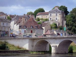 Le Blanc - Bridge spanning River Creuse and houses of the town; in the Creuse valley, in La Brenne Regional Nature Park