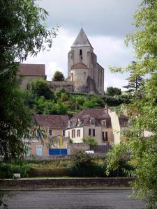 Le Blanc - Saint-Cyran church, houses of the town, River Creuse and trees along the water; in the Creuse valley, in La Brenne Regional Nature Park
