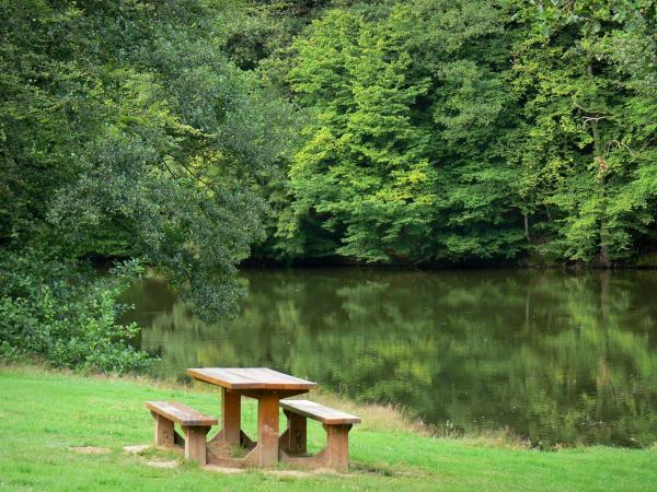 Blangy lake - Picnic table at the edge of the lake, and trees of the Hirson forest reflecting on water; in the town of Hirson