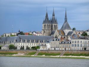 Blois - Saint-Nicolas church (former Saint-Laumer abbey church), buildings and houses of the city, the Loire River, and turbulent sky