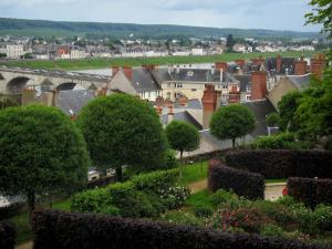 Blois - Gardens of the Bishop's palace with view of the houses of the city, bridge and the Loire River