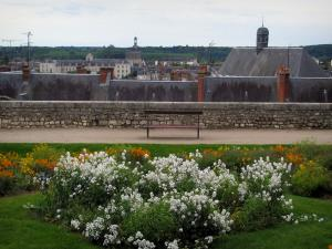 Blois - Flowers and bench of the garden near the Château square with view of the houses of the city