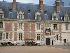 Blois - Facade of the Château and carriages hitched to white horses
