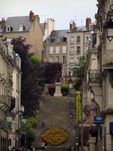Blois - Stair featuring flowers, lampposts and buildings of the city