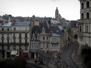Blois - Part of the Château (on the right), Saint-Louis cathedral in background and houses of the old town