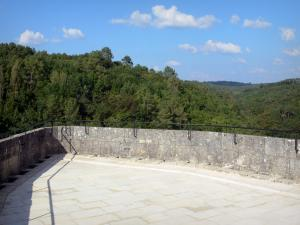 Bonaguil castle - Terrace (platform) of the keep with a view of the surrounding landscape