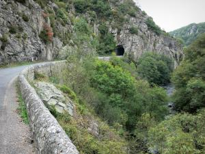 Bourbonnais landscapes - Chouvigny gorges (Sioule gorges): road, tunnel, rock faces and River Sioule lined with trees