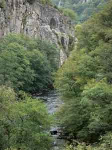 Bourbonnais landscapes - Chouvigny gorges (Sioule gorges): River Sioule lined with trees and rock faces