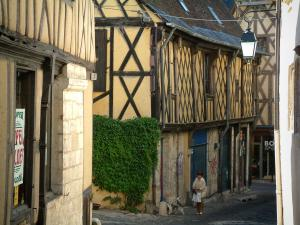 Bourges - Narrow paved street lined with half-timbered houses