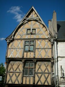 Bourges - Timber-framed house and windows decorated with stained glass windows