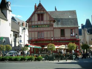 Bourges - Half-timbered house with a restaurant terrace