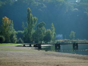 Bourget lake - Beach of Aix-les-Bains, trees, pontoon and lake