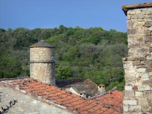 Boussagues - Tower of the Bailli house, roofs of the medieval village and trees