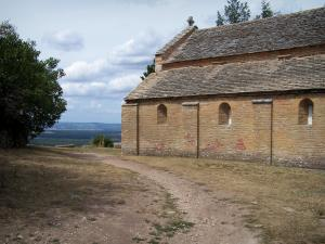 Brancion - Saint-Pierre Romanesque church, footpath and view of the surrounding countryside