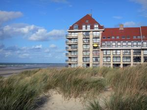 Bray-Dunes - Opal Coast: dunes with beachgrass (psammophytes), building and beach of the seaside resort, North Sea