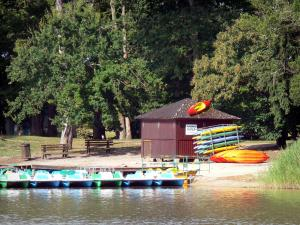 La Brenne Regional Nature Park - Bellebouche lake, water sports centre of Bellebouche, pedal boats and trees