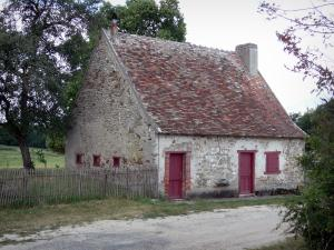 La Brenne Regional Nature Park - Stone house, road and trees
