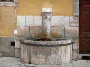 Briançon - Upper town (Vauban citadel, fortified town built by Vauban): fountain of the Place d'Armes square