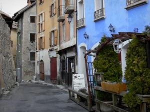 Briançon - Upper town (Vauban citadel, fortified town built by Vauban): alley and facades of houses in the old town