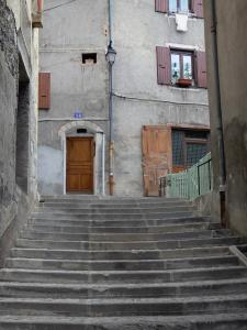 Briançon - Upper town (Vauban citadel, fortified town built by Vauban): stair and houses of the old town