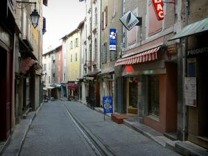 Briançon - Upper town (Vauban citadel, fortified town built by Vauban): Grande Rue high street (Grande Gargouille) with its central channel, its houses and its shops