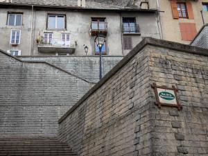 Briançon - Upper town (Vauban citadel, fortified town built by Vauban): fortified stair, lampposts and houses of the old town
