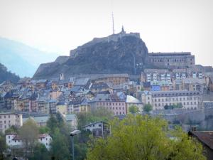 Briançon - Fortification of the castle overlooking houses and buildings of the upper city (Vauban citadel)