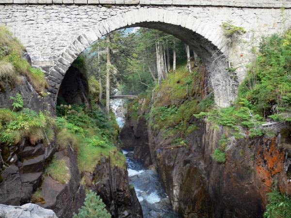 Bridge of Spain - Bridge of Spain (Pont d'Espagne) Nature site: stone bridge spanning the stream, watercourse lined with rocks in the Pyrenees National Park; in the town of Cauterets