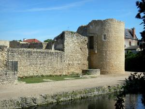 Brie-Comte-Robert castle - Tower and walls of the medieval castle, moats