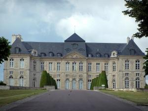 Brienne-le-Château - Castle with its path lined with lawns and cut cypress, birds flying