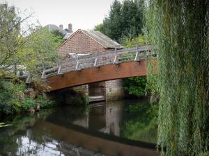 Brou - Bridge spanning the River Ozanne, houses and trees along the water