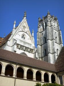 Brou Royal Monastery - Gallery of the first cloister, bell tower and facade of the church; in the town of Bourg-en-Bresse