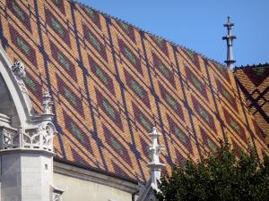 Brou Royal Monastery - Roof of the Brou church with polychrome glazed tiles, in the town of Bourg-en-Bresse