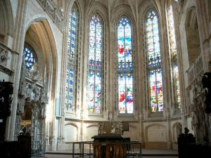 Brou Royal Monastery - Inside the Brou church of Flamboyant Gothic style: stained glass windows of the choir and tomb of Philibert le Beau (duke of Savoy); in the town of Bourg-en-Bresse