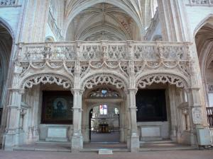 Brou Royal Monastery - Inside the Brou church of Flamboyant Gothic style: rood screen and its stone lace