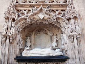 Brou Royal Monastery - Inside the Brou church of Flamboyant Gothic style: tomb of Margaret of Bourbon