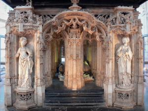 Brou Royal Monastery - Inside the Brou church of Flamboyant Gothic style: tomb of Philibert le Beau (duke of Savoy)