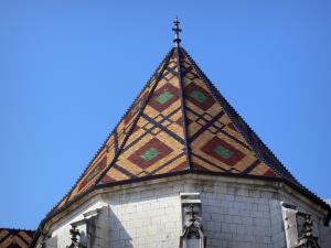 Brou Royal Monastery - Roof of the Brou church with polychrome glazed tiles