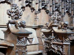 Brou Royal Monastery - Inside the Brou church: carvings of the wooden stalls (oak)