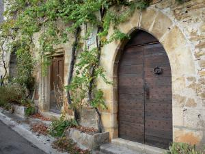 Bruniquel - Stone house with wooden doors and facade with Virginia creeper