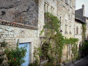 Bruniquel - Medieval village and its stone houses with climbing plants