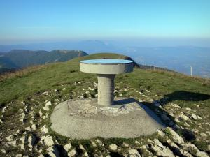 Bugey - Viewpoint indicator of Grand Colombier (Jura mountain range) with view of the unspoiled surrounding landscape