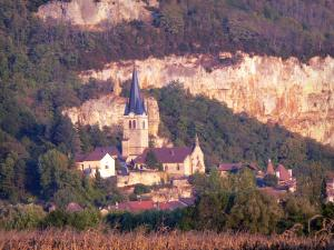 Bugey - Lower Bugey: bell tower of the church and houses in the village of Saint-Sorlin-en-Bugey, trees and cliffs