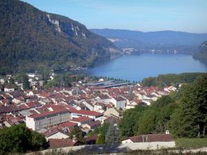 Bugey - Upper Bugey: view over the rooftops of the town of Nantua, lake and mountains
