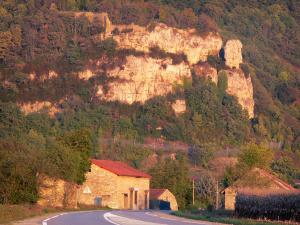 Bugey - Lower Bugey: road to the village of Saint-Sorlin-en-Bugey, trees, and cliffs overlooking the place