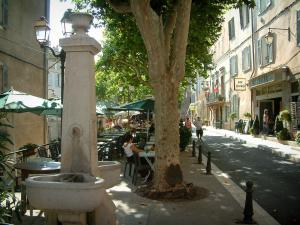 La Cadière-d'Azur - Fountain, plane trees, café terrace, lampposts and houses of the medieval village