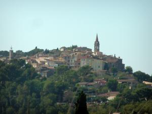 La Cadière-d'Azur - View of trees, houses and church bell tower in the hilltop village